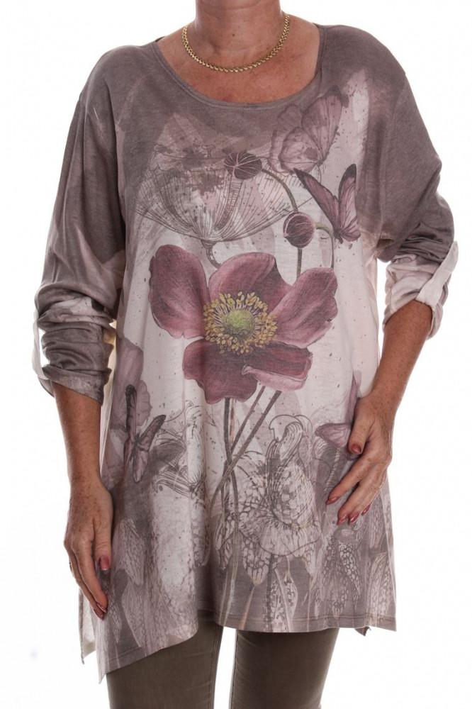 35855d1337d2 Dámska tunika s kvetom a motýlikmi - hnedo-krémová D3 - Tuniky pre ...