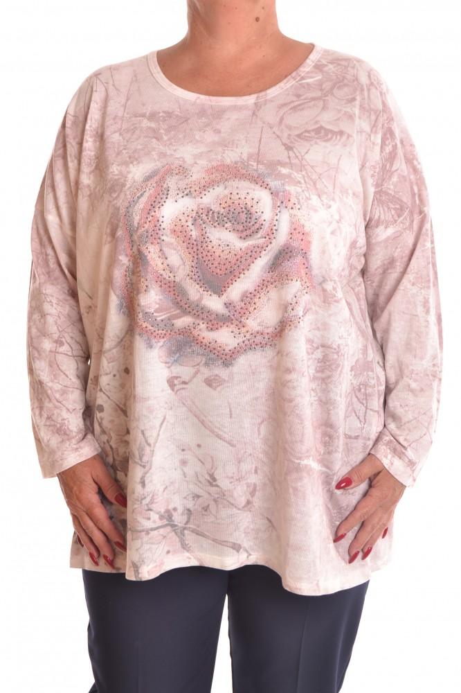 f8a4cd853789 Dámska úpletová vzorovaná tunika - ružová - Tuniky pre moletky ...