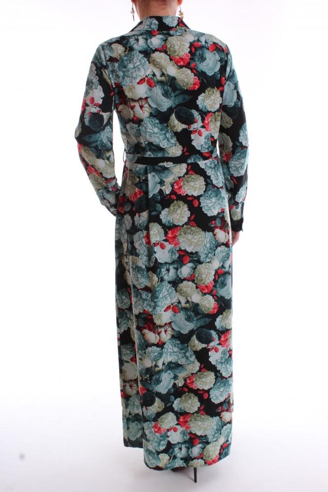 2e3de66f8872 Dámske dlhé šaty vzorované - tyrkysovo-čierne - Dámske dlhé šaty ...