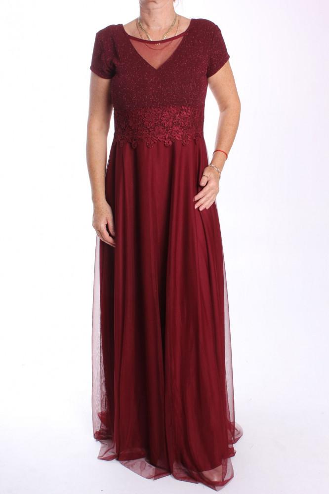 Dámske dlhé spoločenské šaty (38463) - bordové