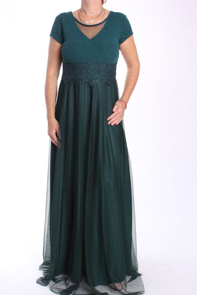 Dámske dlhé spoločenské šaty (38463) - tmavozelené