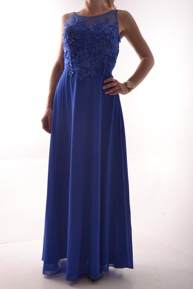 Dámske dlhé spoločenské šaty s krajkou - kráľovskej modrej farby D3 ... 081d257a911
