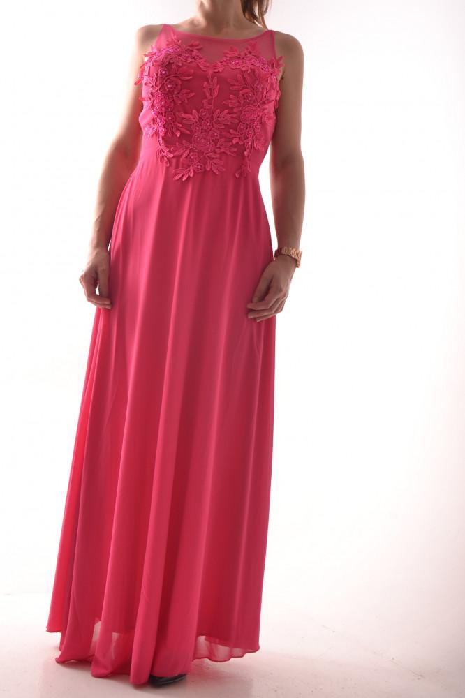 79bf09e1c4cb Dámske dlhé spoločenské šaty s krajkou - ružové D3 - Spoločenské ...