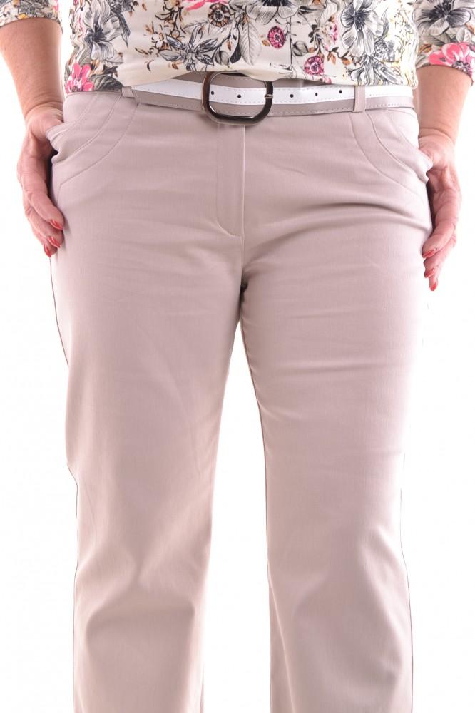 836ffad52f18 Dámske elastické nohavice s opaskom - béžové D32 - Nohavice pre ...