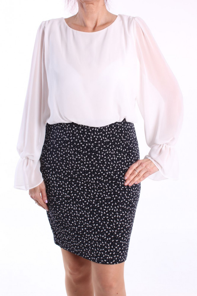 Dámske elastické šaty (č. 38353) - tmavomodro-biele D3