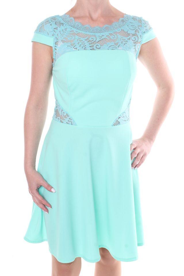 f97bad648d57 Dámske elastické šaty kombinované s čipkou a zipsom - zelené ...
