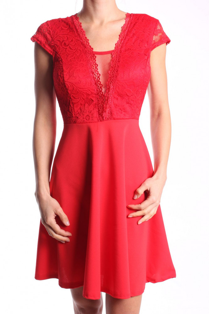 ddcb5997c39 Dámske elastické šaty kombinované s čipkou - červené D3 ...
