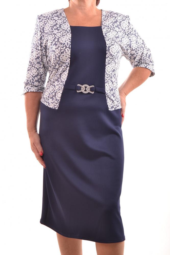 5413ca6286a Dámske elastické šaty s bielym čipkovaným vzorom - tmavomodré D3 ...