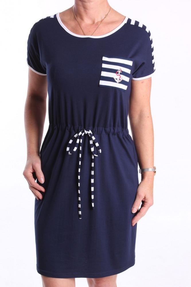 Dámske elastické šaty s bielymi pásikmi a lemovaním - tmavomodré