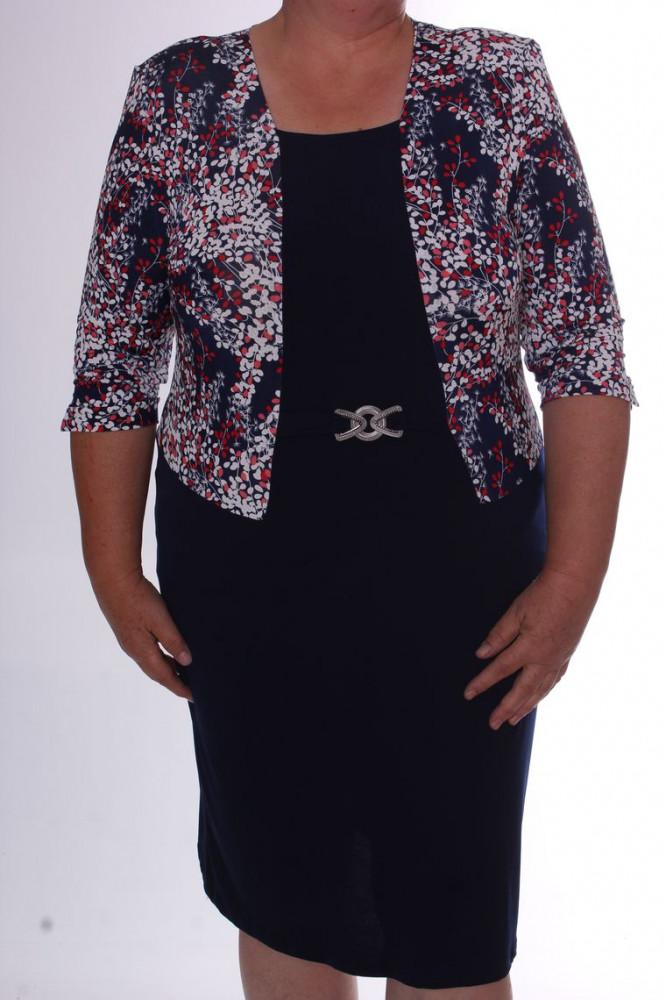 Dámske elastické šaty s imitáciou kabátika VZOR 2. - tmavomodro-biele