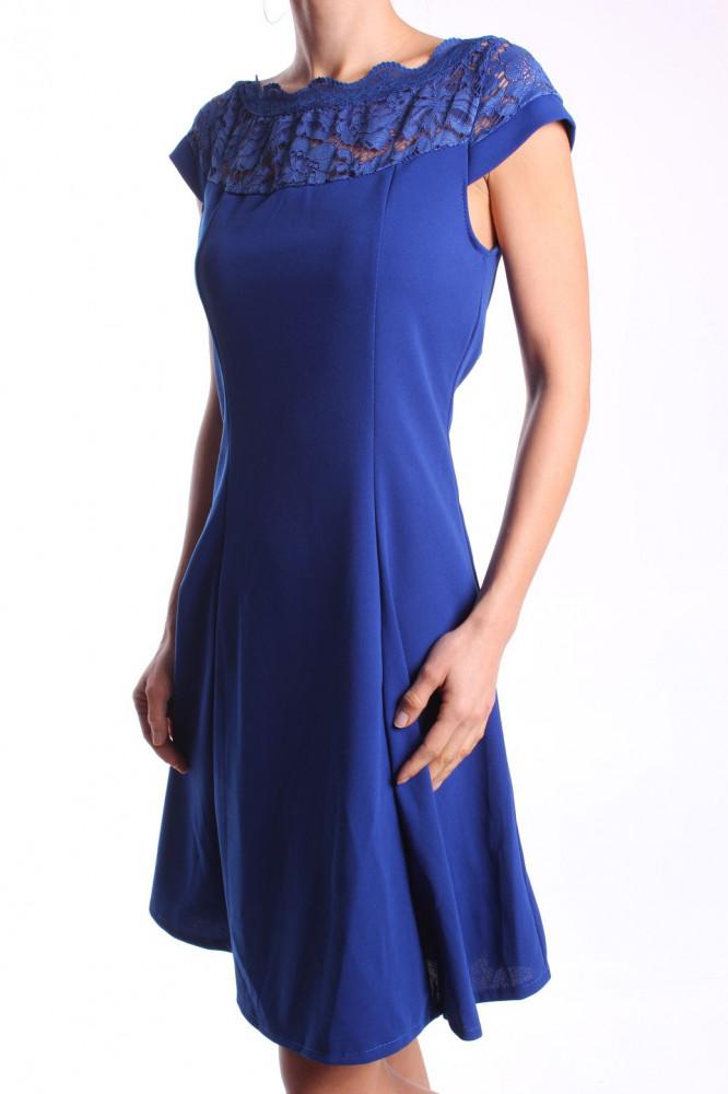 ad912f744c4e Dámske elastické šaty s krajkou - kráľovské modré D3 - Spoločenské ...