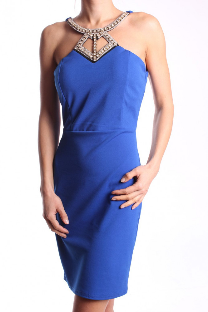 Dámske elastické šaty so štrasovou ozdobou - kráľovské modré D3 ... bae1eb6fa6