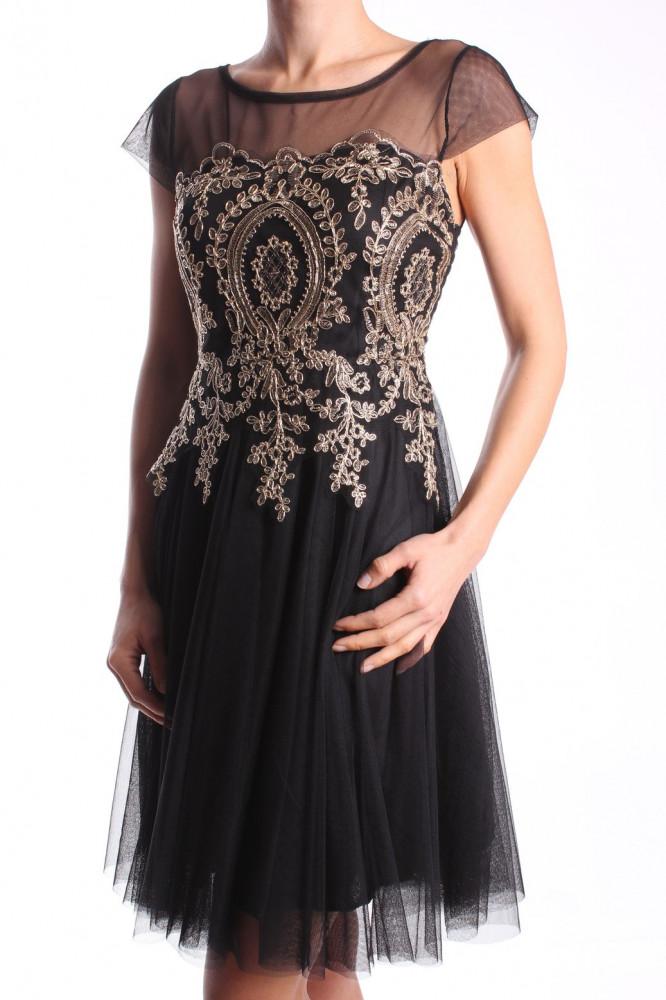 174c049a487c Dámske elastické šaty tylové so zlatým vyšívaným vzorom - čierne D3 ...