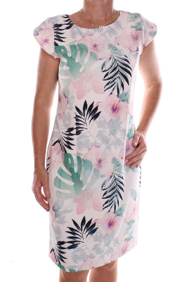 f8db2dca7fd4 Dámske elastické šaty vzorované - krémovo zelené - Ležérne šaty pre ...