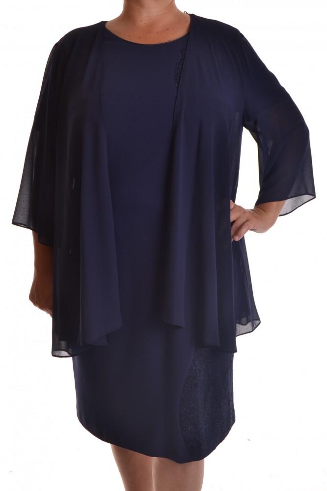 c28ad7acb707 Dámske elastické spoločenské šaty s čipkou a kabátikom - tmavomodré ...