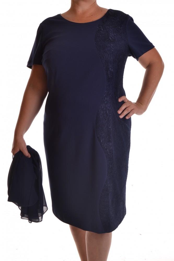 Dámske elastické spoločenské šaty s čipkou a kabátikom - tmavomodré ... 46c8ec7c90b