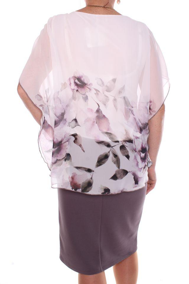 f87c6ba3ae77 Dámske elastické spoločenské šaty so silonovým vrchom - sivo-fialové ...