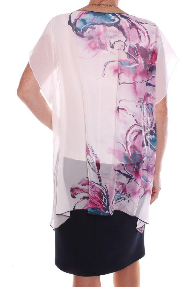 7be83217050c Dámske elastické spoločenské šaty so silonovým vrchom - tmavomodro-biele  1