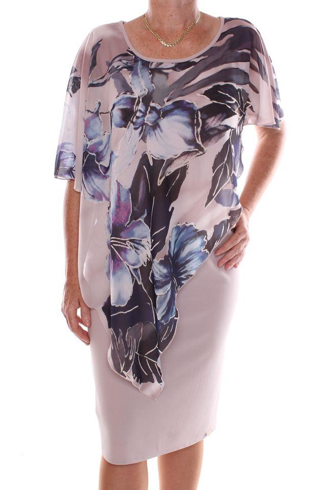 7c32aa97993e Dámske elastické spoločenské šaty so vzorovaným silonovým vrchom - sivo -béžové