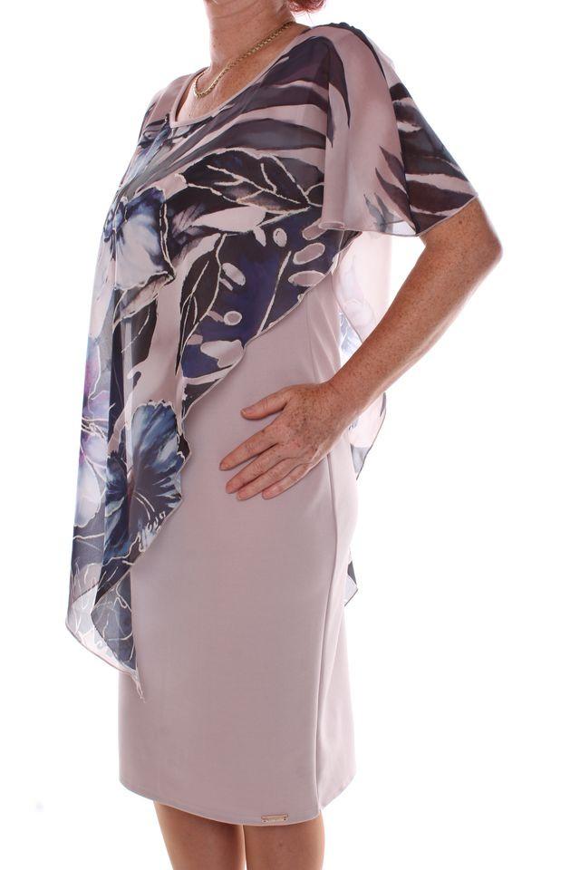 eaa6fca3caf3 Dámske elastické spoločenské šaty so vzorovaným silonovým vrchom - sivo-béžové   1