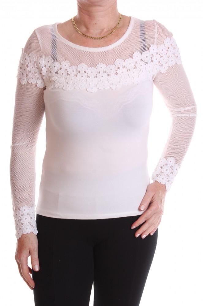Dámske elastické tričko s čipkou - biele - Dámske tričká - Locca.sk 8b8d5b4f041
