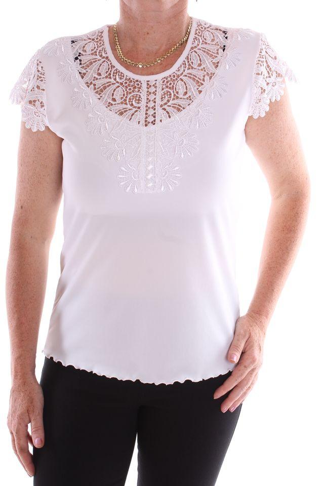 Dámske elastické tričko s krajkou - biele D3 - Dámske tričká - Locca.sk a0eda41851e