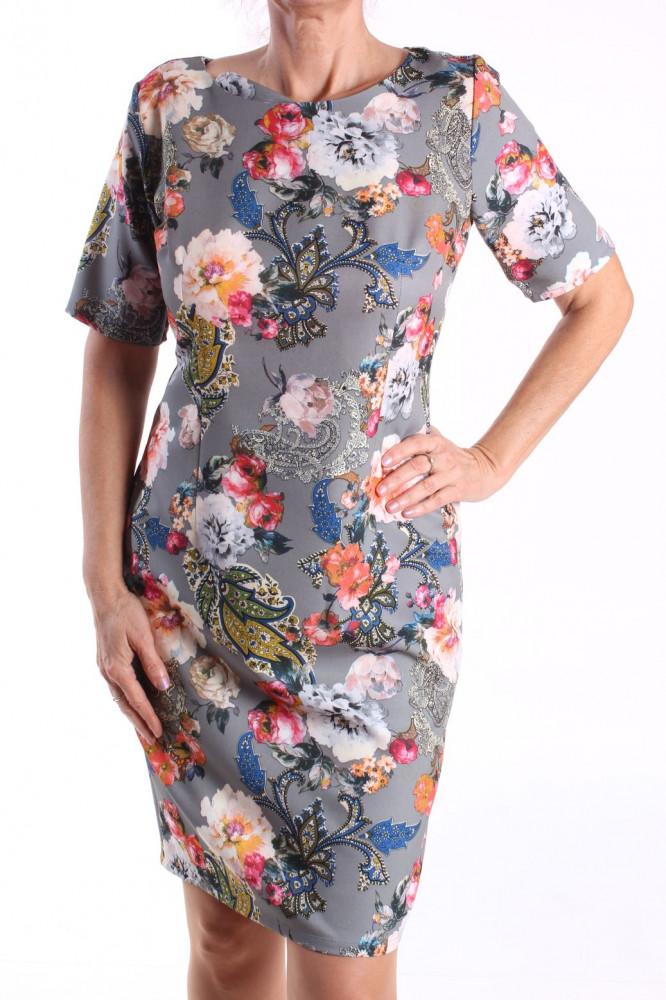 Dámske elastické vzorované šaty M&M - sivé D3