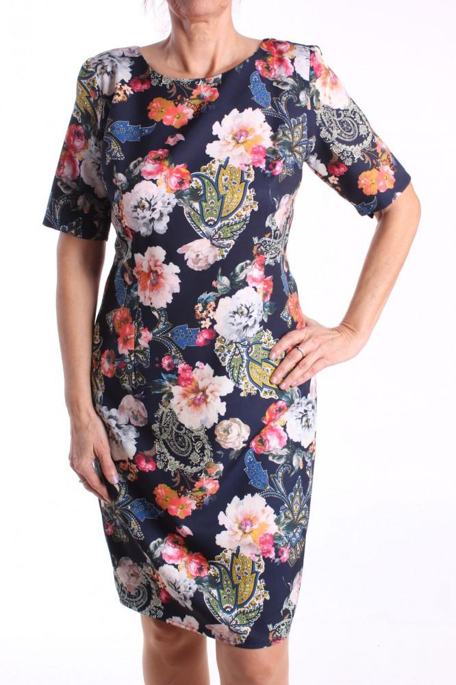 Dámske elastické vzorované šaty M&M - tmavomodré D3