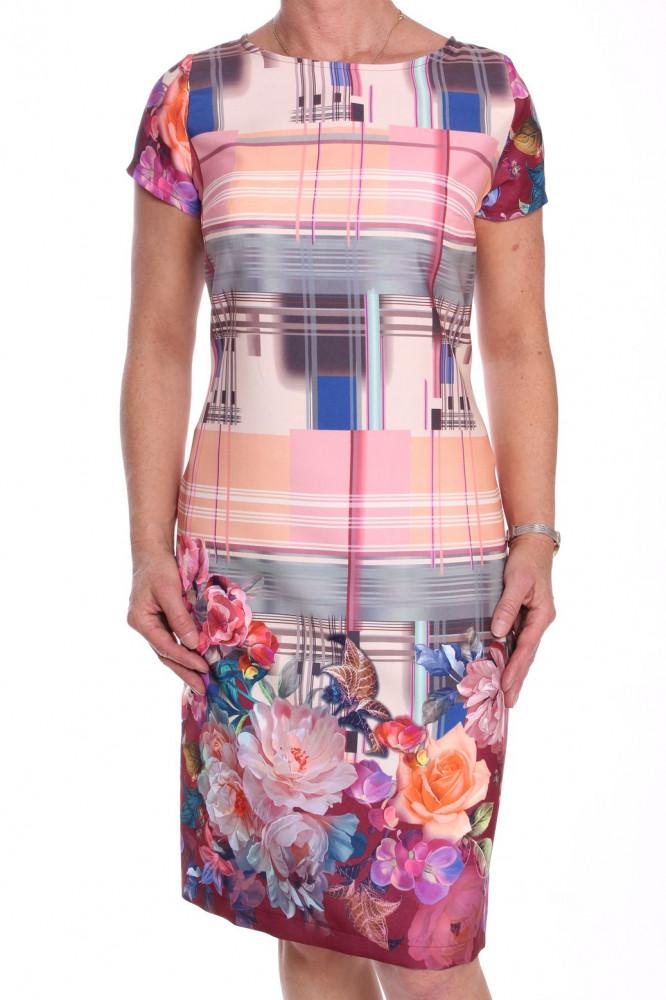 Dámske elegantné šaty vzorované - oranžovo-sivé