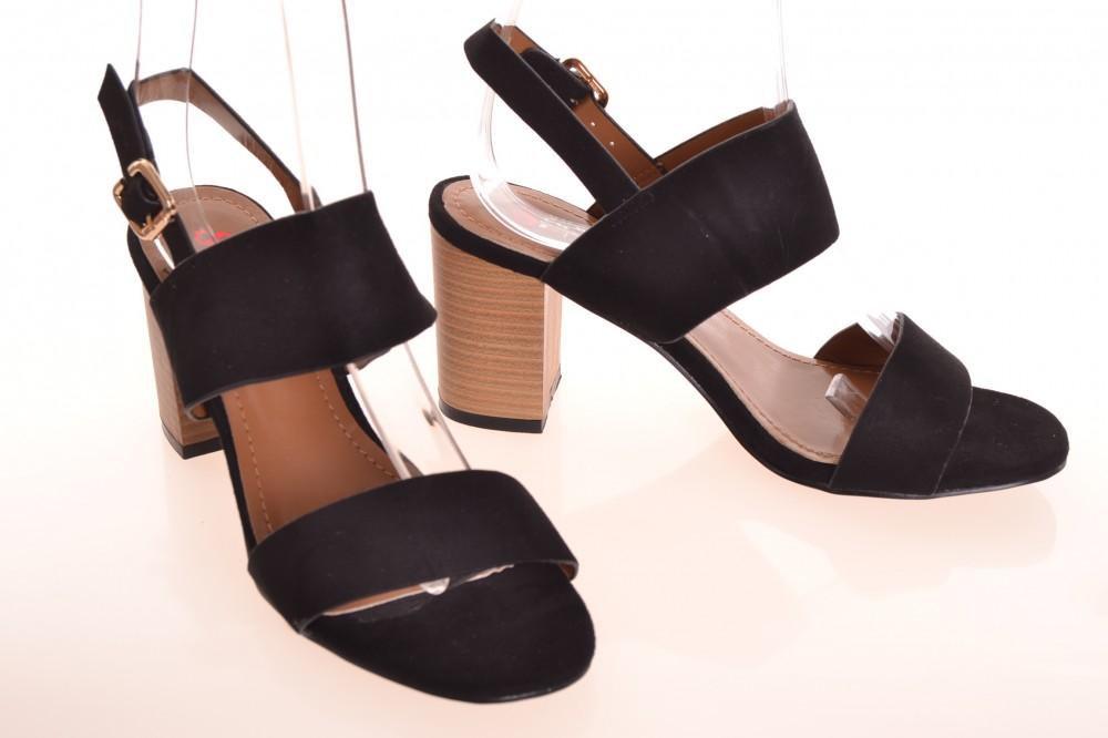 40ca350583857 Dámske letné sandále na opätku (v. 8 cm) - čierne (NE01) - Dámske ...