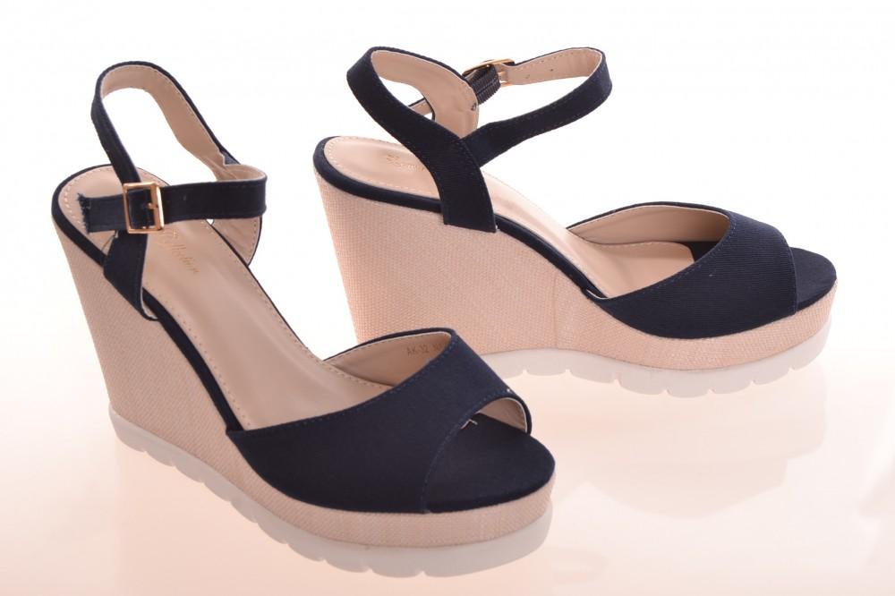 Dámske letné sandále na platforme - tmavomodro-béžové (AK-32) (v ... 26c900003c2