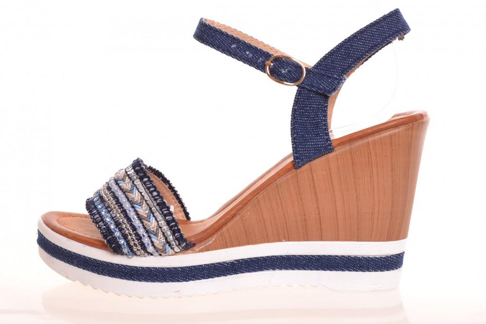 de376d65d57ba Dámske letné sandále s korálkami - rifľovomodré (FY-1) (v. 9,5 cm ...