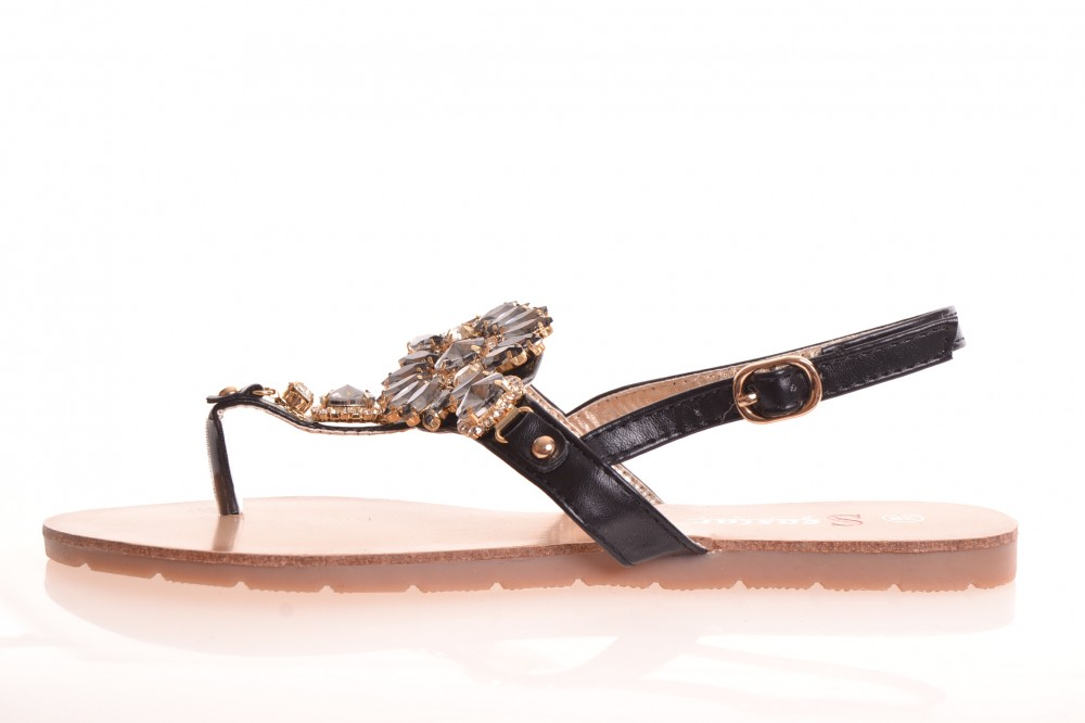 5fea4698af74 Dámske letné sandále zdobené kamienkami (JH-41) - čierne - Dámske ...