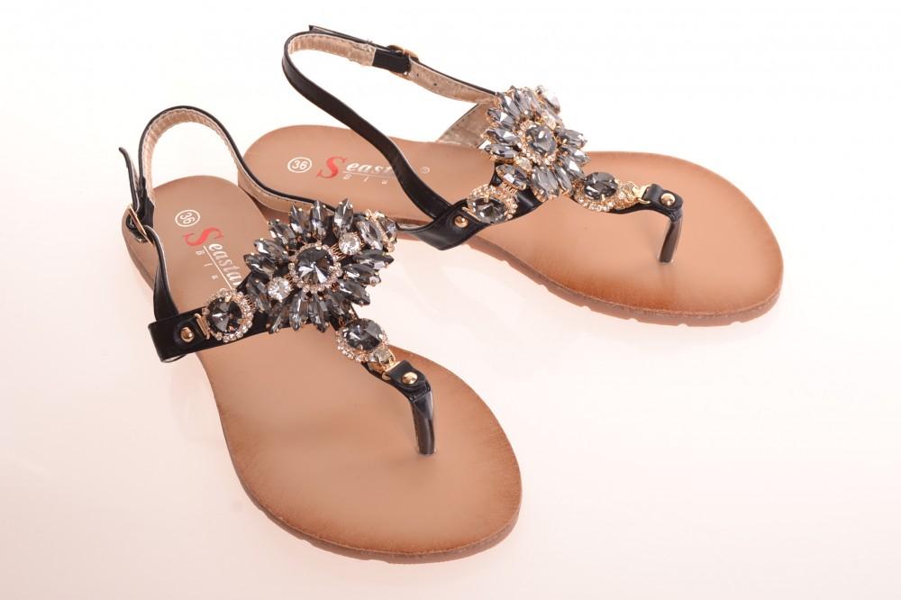 Dámske letné sandále zdobené kamienkami (JH-41) - čierne - Dámske ... 5183ef615f3