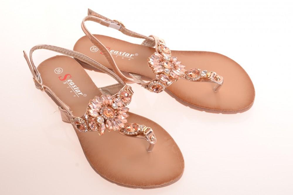 Dámske letné sandále zdobené kamienkami (JH-41) - ružovo-bronzové ... 40842ce0cf8