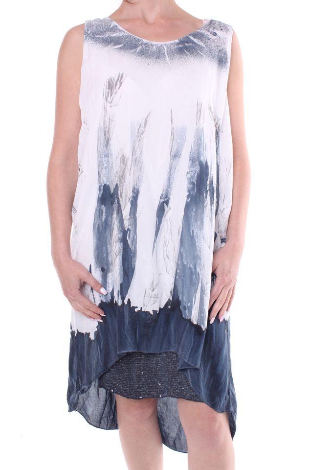 Dámske letné šaty vzorované - sivo-biele - Dámske letné šaty - Locca.sk fa8e2442e2d