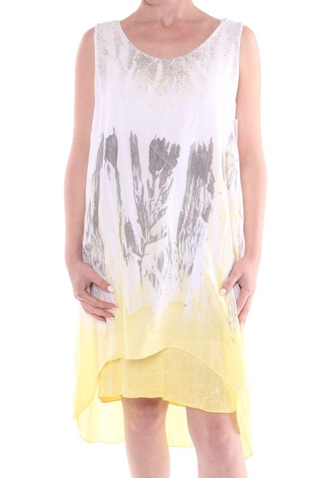 a2d5e962e104 Dámske letné šaty vzorované - žlto-biele - Dámske letné šaty - Locca.sk