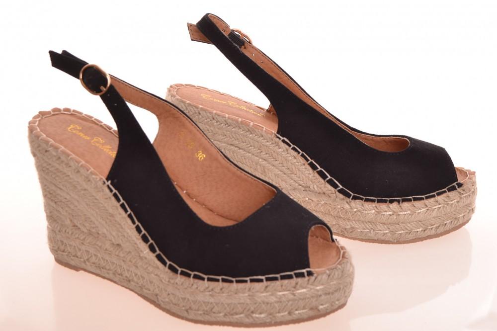 a0e2b060f075f Dámske letné semišové sandále na platforme - čierne (AL-39) (v ...