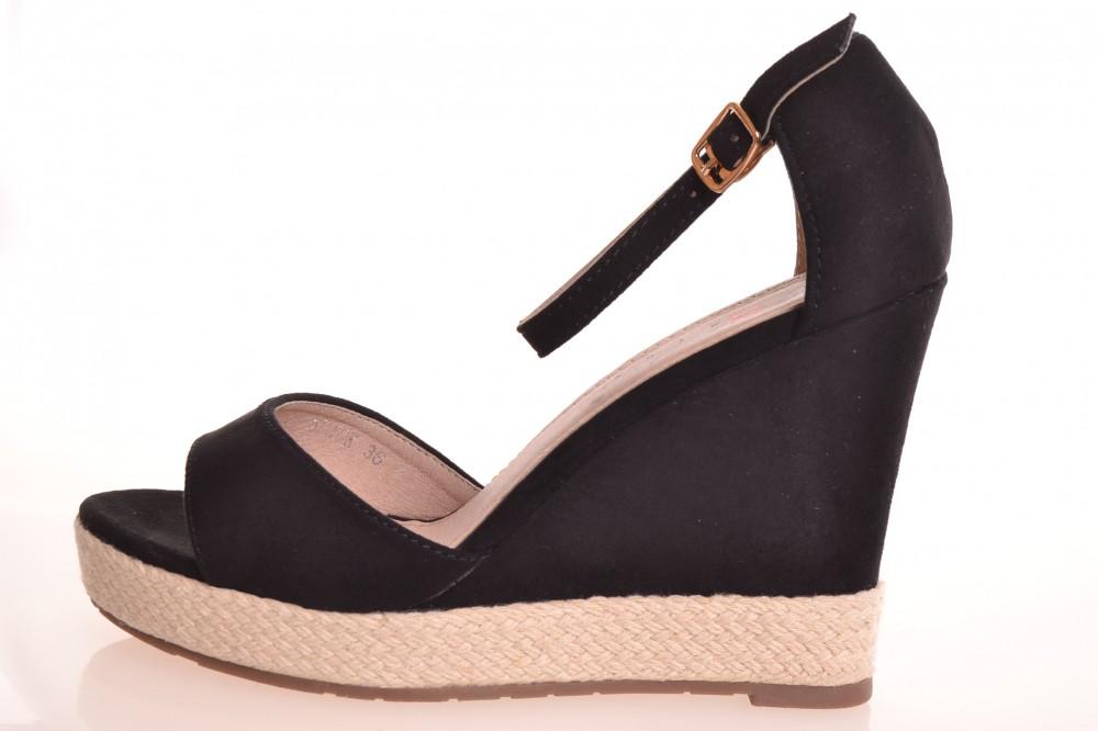 d5bc2244861f Dámske letné semišové sandále na platforme (GG-16) - čierne (v. podpätku 10  cm)