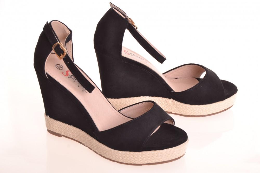 411a7684ca Dámske letné semišové sandále na platforme (GG-16) - čierne (v ...
