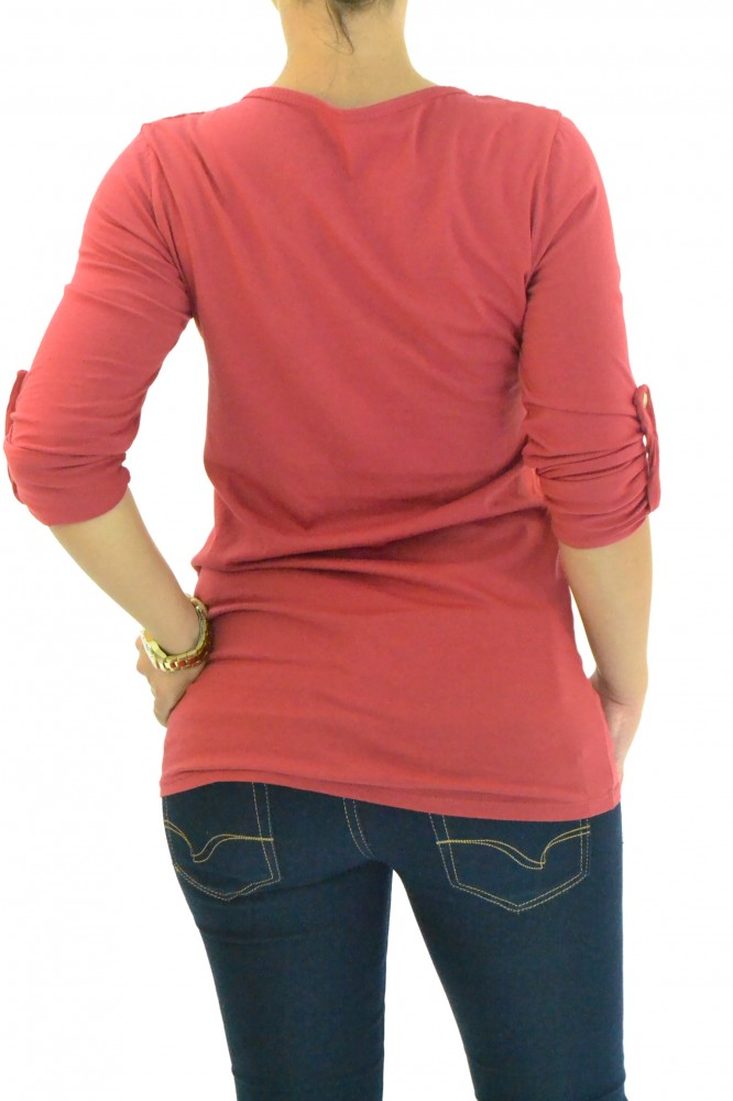 57225766c61d Dámske predĺžené tričko - bordové D2 - Dámske tričká - Locca.sk