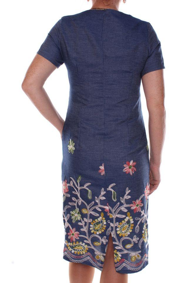 a5c0f631f9fd Dámske riflové šaty vyšívaným vzorom - Ležérne šaty pre moletky ...