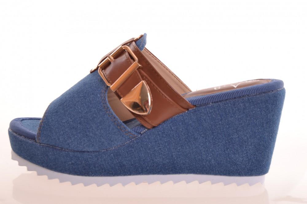 6eab2d6c5e34 Dámske rifľové šľapky na platforme 007-2 - modré (v. podpätku 8 cm ...