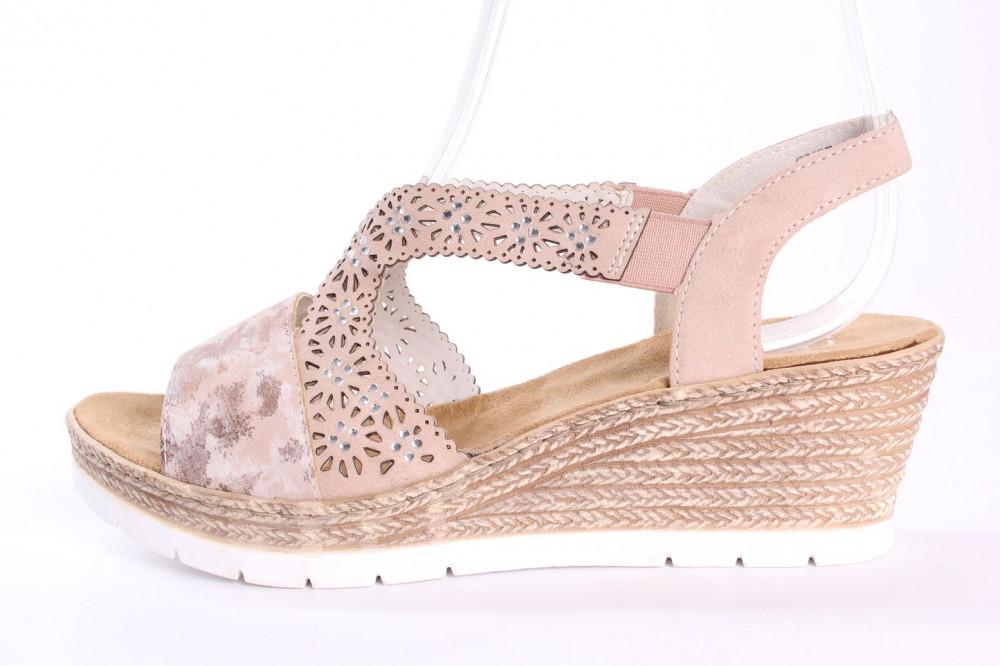 Dámske sandále na platforme RIEKER 61916-31 - rosa-bledoružové - so vzorom (v. p. 6 cm)