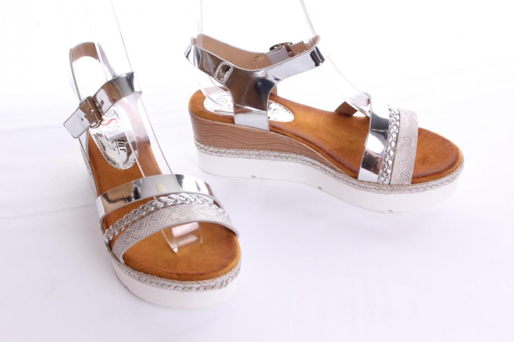 Dámske sandále (WD52) - strieborné (v. 6 cm) - Dámske sandále - Locca.sk 85090e366d0