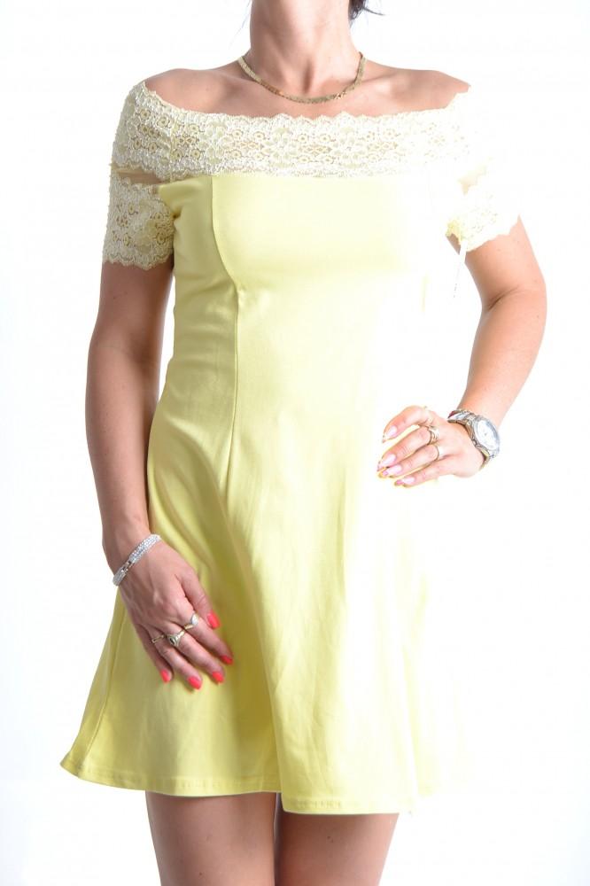 Dámske šaty elastické úpletové s krajkou - žlté D3 - Dámske šaty ... 06bba7cea45
