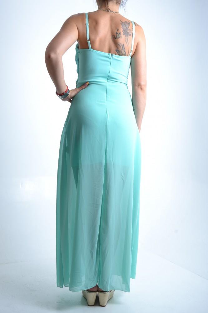 Dámske šaty na ramienka s krajkou a strapcami - tyrkysové D3 ... eb02d0627b0