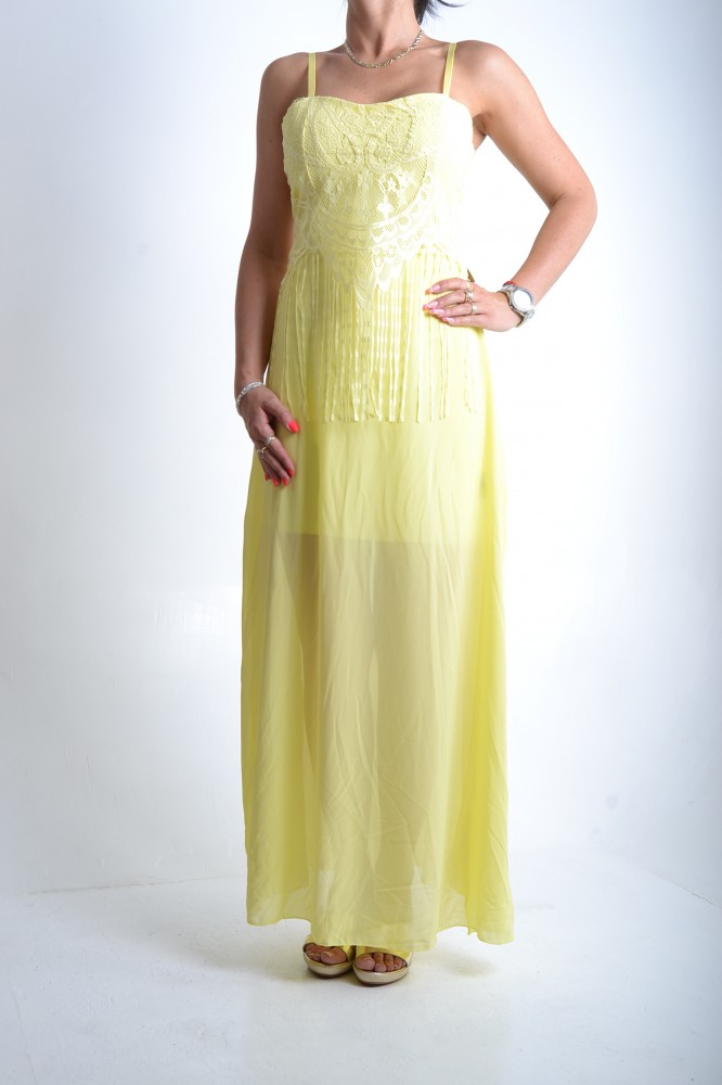 Dámske šaty na ramienka s krajkou a strapcami - žlté D3 - Dámske ... e2c65702af0