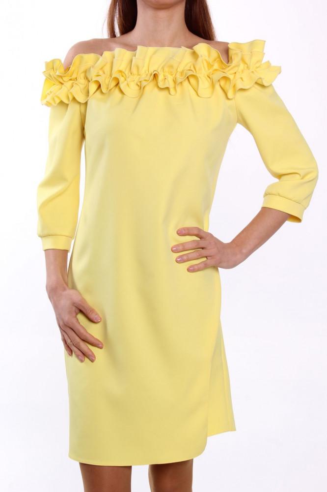 854300f2651d Dámske šaty s fodričkami MALLY - žlté D3 - Spoločenské