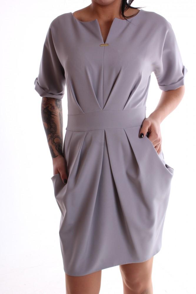 Dámske šaty s vreckami - sivá - Dámske dlhé šaty - Locca.sk 6207bc6f08a